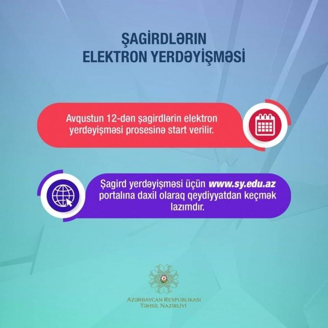 Sagirdlərin Elektron Yerdəyisməsi Baslayir Azerbaijan News Az